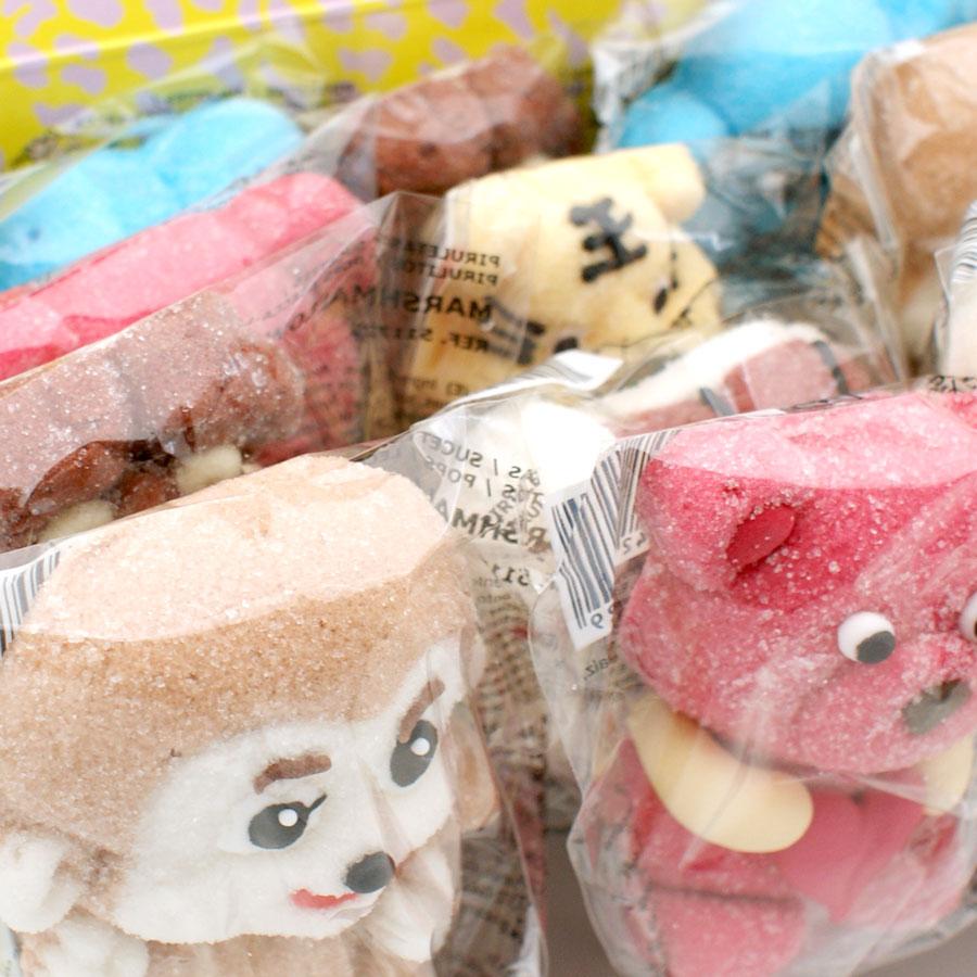Piruletes marshmallow amb formes de diferents animals de la selva