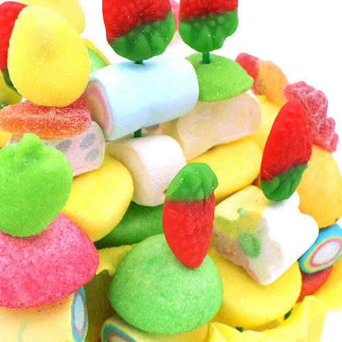 Gâteau panier gourmand avec bonbons gélifiés