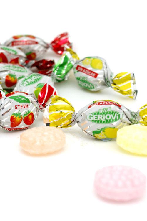 Caramelos ácidos sin azúcar y con estevia