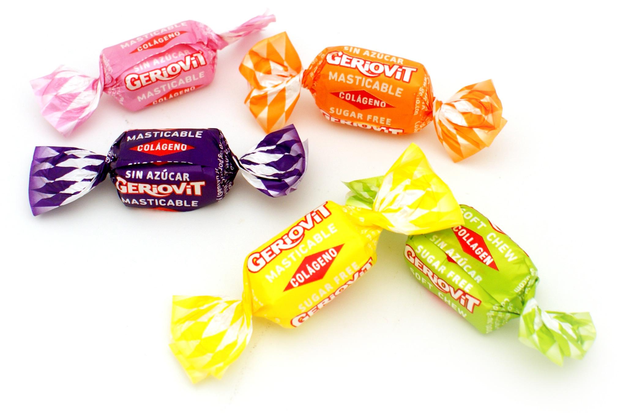 Caramelos masticables sin azúcar Geriovit con colágeno