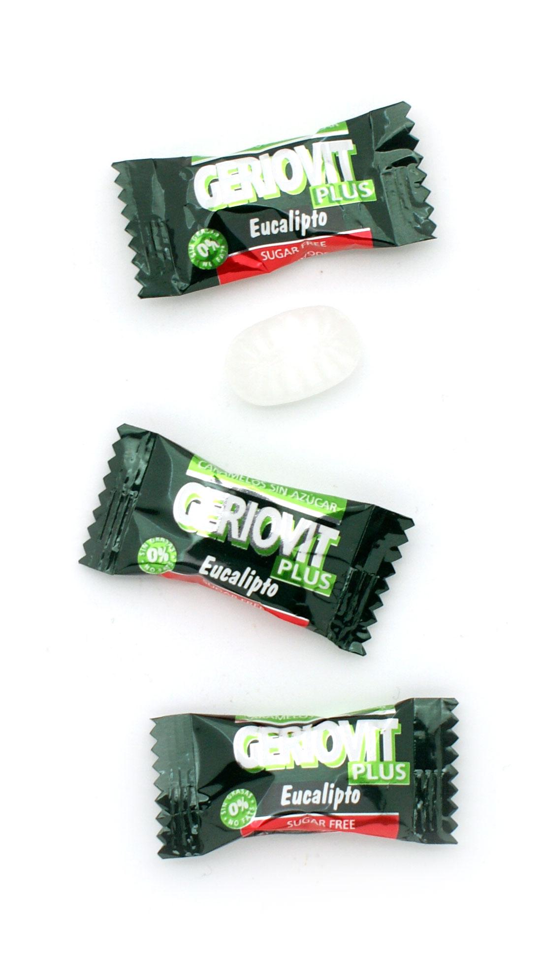 Caramelos sin azúcar eucalipto con estevia. Envueltos individualmente en flow pack.