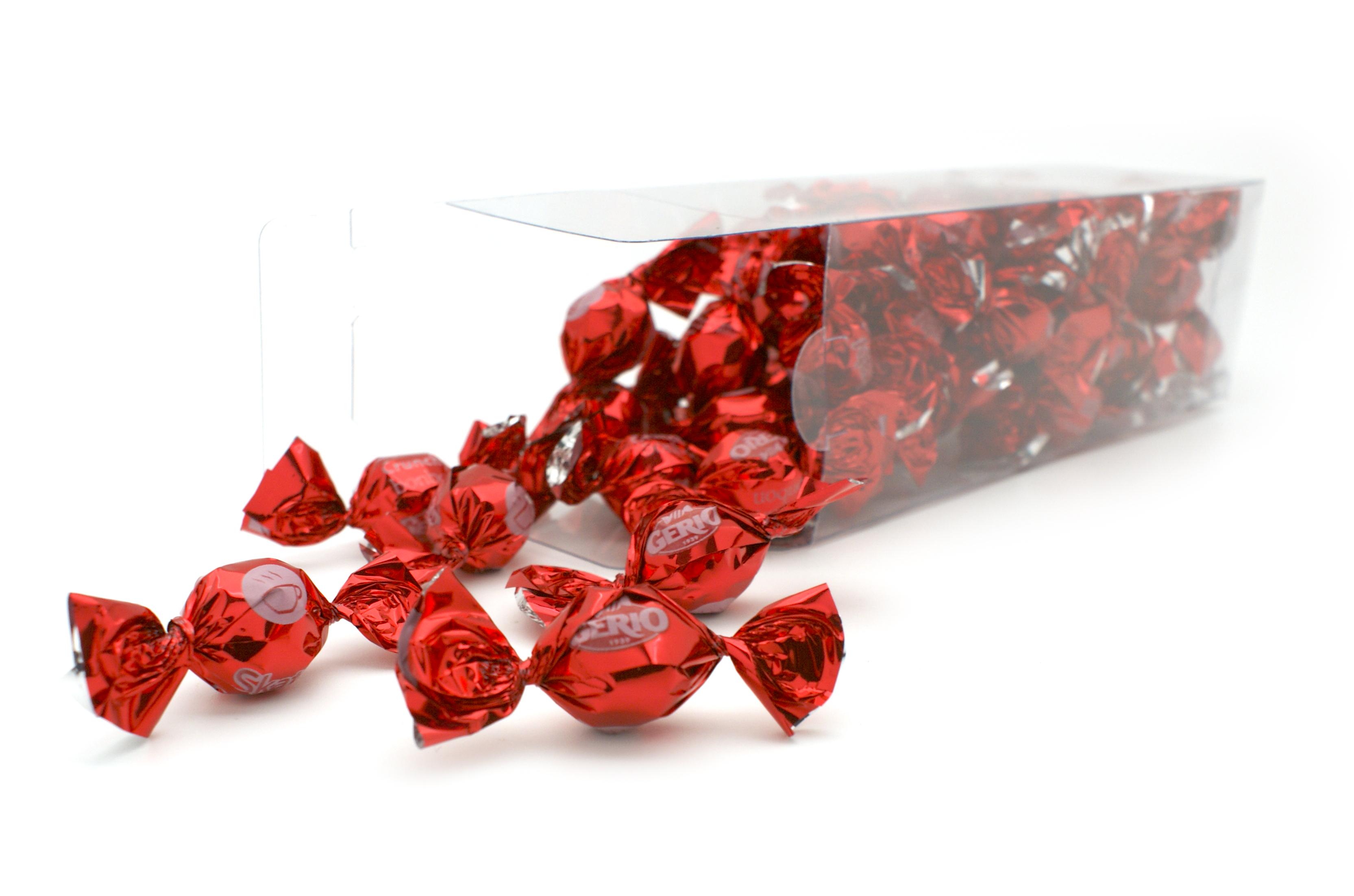Caja bombones crujientes recubiertos de chocolate negro Skaty Rojo para San Valentín