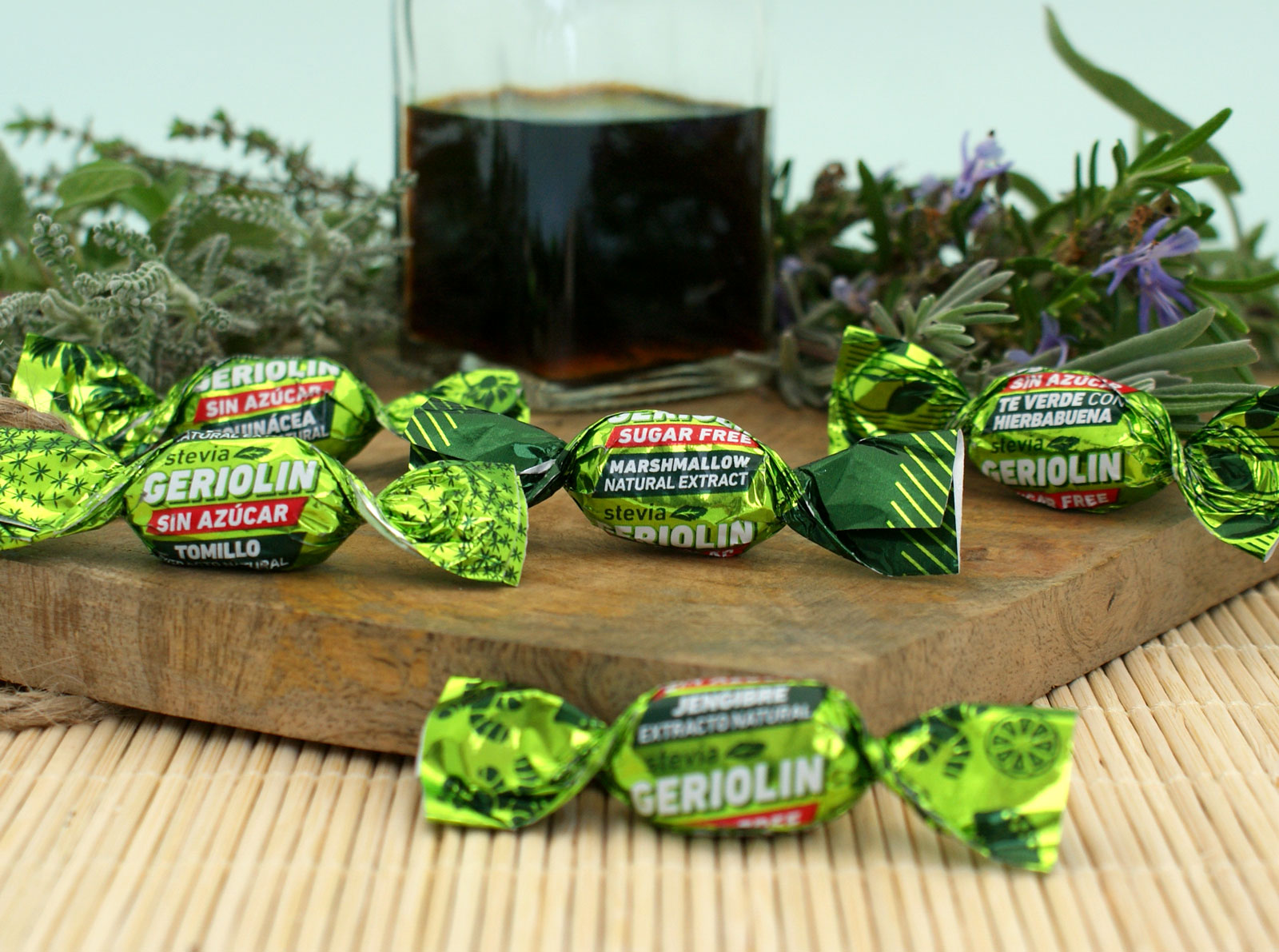 caramelos hierbas sin azucar estevia