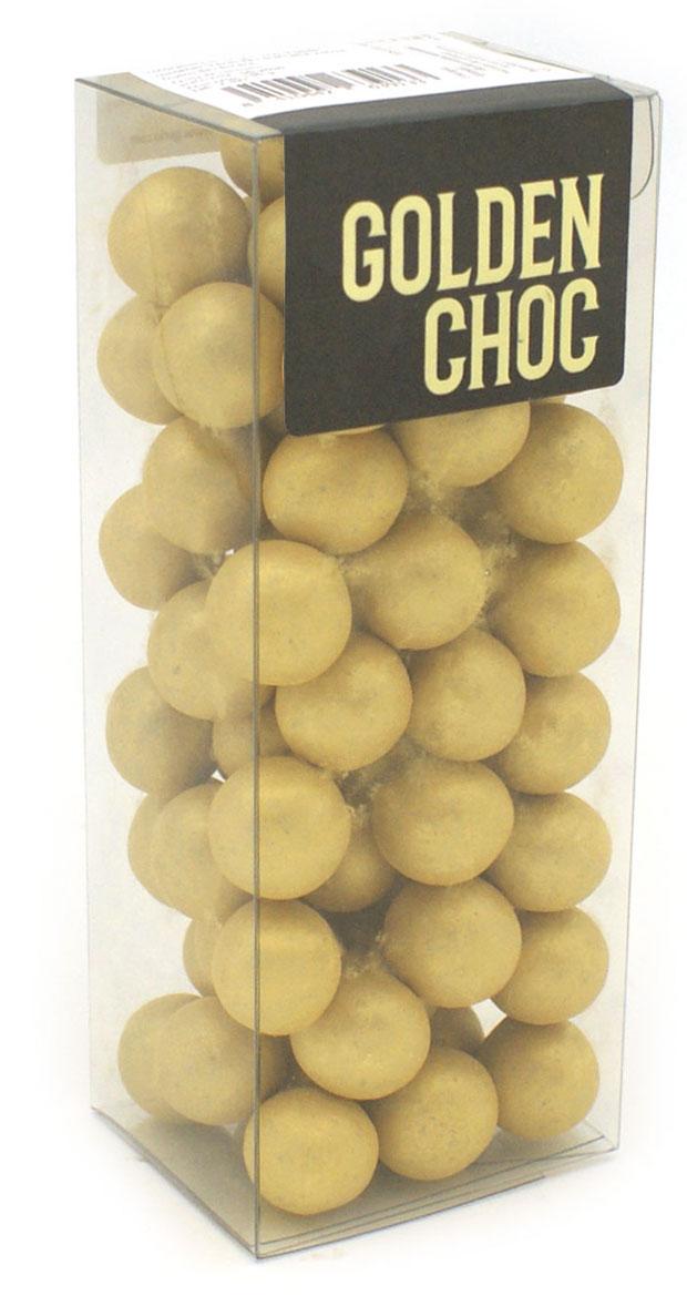 Bolas doradas de chocolate crujiente gerio